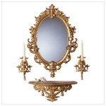 Baroque-Style Mirror, Shelf and Sconce Set