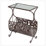 Cast Iron Table and Magazine Rack