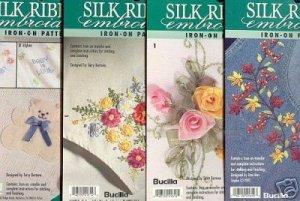4 New Embroidery Ribbon Iron on Patterns ~Bucilla ~f