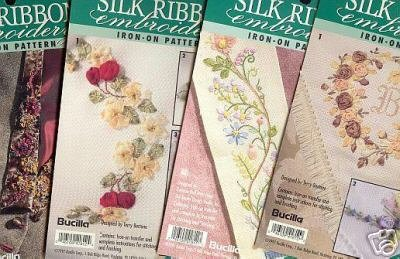 4 New Bucilla Iron on Patterns for Embroidery Ribbon ~e