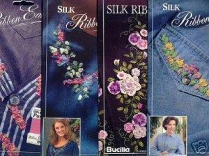 4 New Silk Embroidery Iron on Patterns by Bucilla ~b