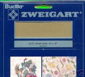 Bucilla 18ct Khaki Aida~Cross Stitch Fabric