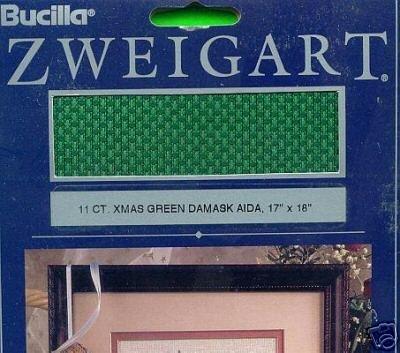 """11 ct. XMAS GREEN DAMASK Aida ~17""""x18"""" Fabric"""