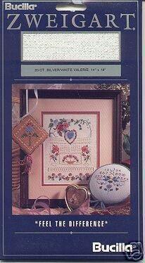 Bucilla Zweigart 20ct Silver/White Valerie CS Fabric