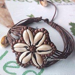 flower themed shell bead bracelet brown