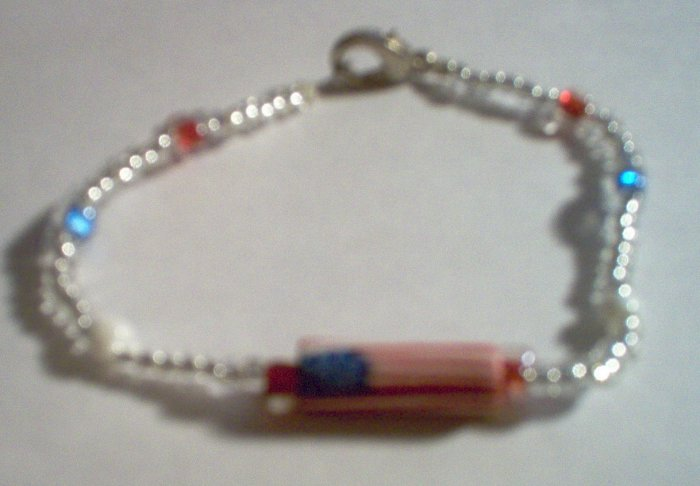 USA Flag Patriotic Glass Bead Bracelet