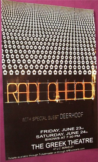 Radiohead Concert Poster . In Rainbows OK Computer