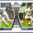 2011 Topps Baseball Diamond Duos Ryan Braun (Brewers) & Ike Davis (Mets) #DD-BD
