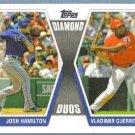 2011 Topps Baseball Diamond Duos Josh Hamilton (Rangers) & Vladimir Guerrero (Rangers) #DD-HG