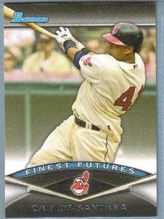 2011 Bowman Baseball Finest Futures Carlos Santana (Indians) #FF7