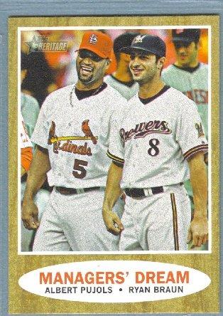 2011 Topps Heritage Baseball Managers Dream Albert Pujols (Cardinals) & Ryan Braun (Brewers) #18