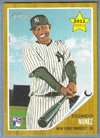 2011 Topps Heritage Baseball Rookie Eduardo Nunez (Yankees) #281