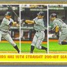 """2011 Topps Heritage Baseball """"Ichiro has 10th Straight 200 Hit Season"""" Ichiro (Mariners) #317"""
