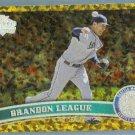 2011 Topps Update Baseball COGNAC Gold Sparkle Brandon League (Marlins) #US197