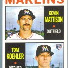 2013 Topps Heritage Baseball Marlins Rookies Kevin Mattison & Tom Koehler #337
