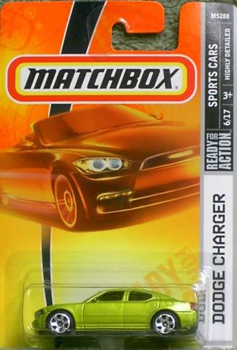 2008 Matchbox Sports Cars Series Dodge Charger #14 Lime Green With Black Hood