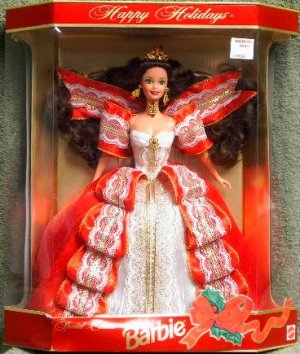 Mattel 10th Anniversary Happy Holidays Special Edition Barbie Doll (Gold Background Package)