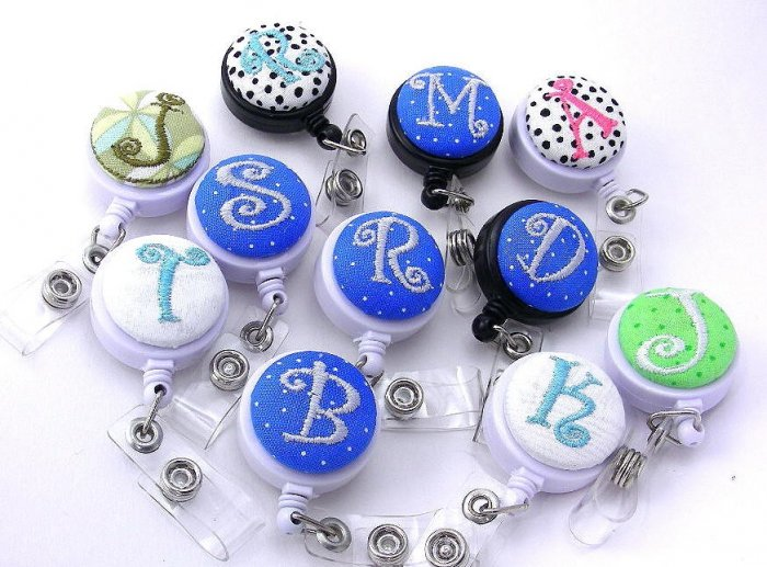 Monogrammed Badge Reel - Id Holder- Your choice of Letter