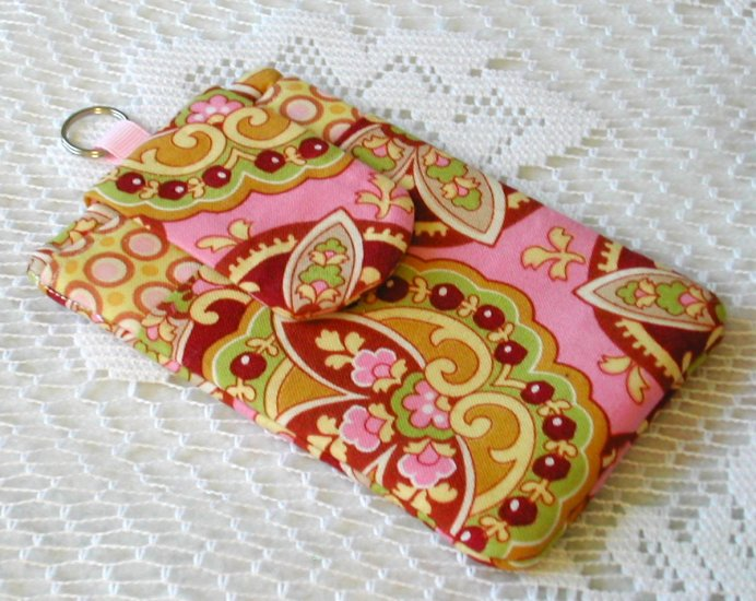 Cell Phone Ipod Gadget Holder - Star Paisley Coral Amy Butler