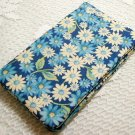 Fabric Checkbook Cover - Blue and White Daisies