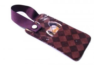 Cell Phone Purse Pouch - Holder - Carrier Coffee Print