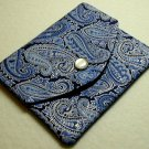 Mini Wallet Business Card Holder Blue Paisley Print