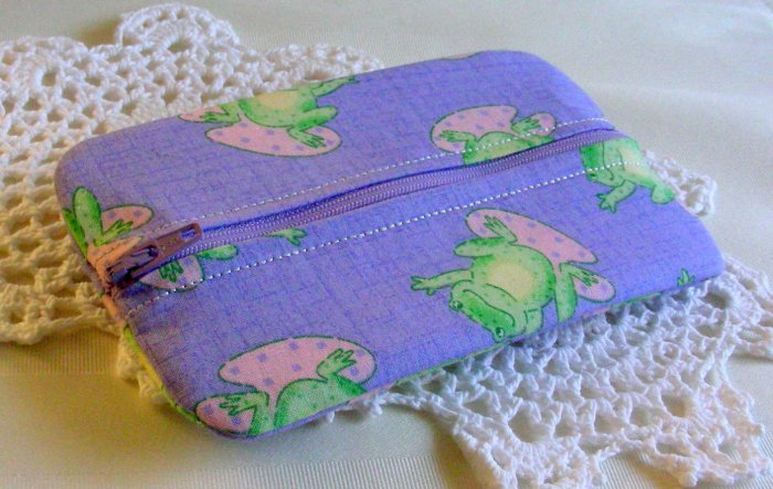 SALE Zipper Pouch - Zippy - Tissue - Jewelry Holder Purple Frog Print