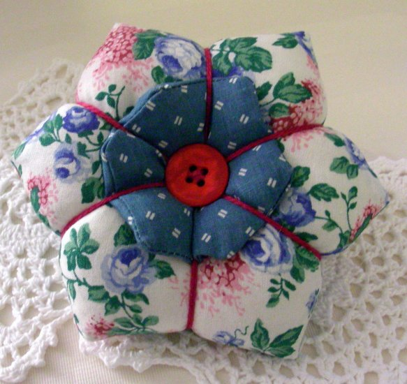 Flower Petal Pincushion - Blue Roses