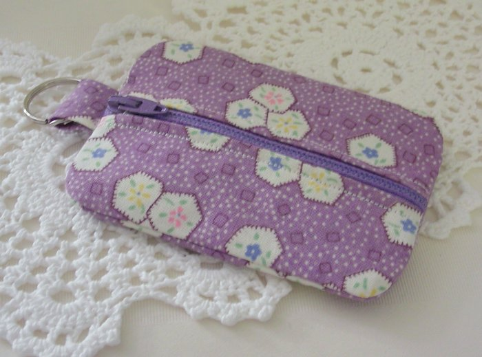 Mini Coin Zipper Keyring Pouch - Zippy - Purple Print