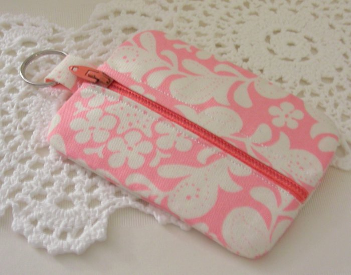 Mini Coin Zipper Keyring Pouch - Zippy - Pink and White
