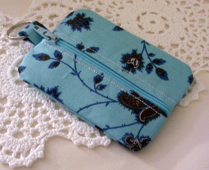 Mini Coin Zipper Keyring Pouch - Zippy - Teal Brown Floral Print