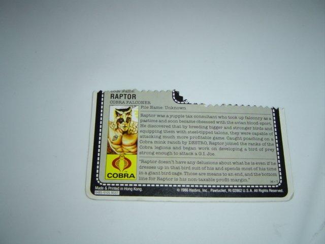 Cobra Raptor 1987 Card File