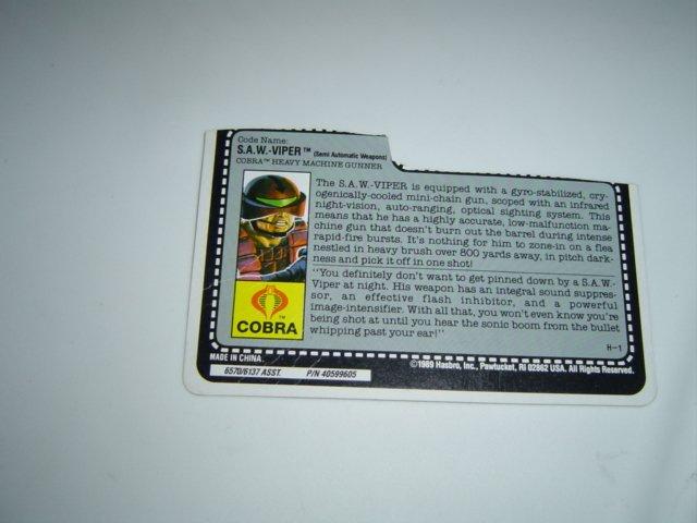 Gi Joe  file card Cobra S.A.W. Viper 1990