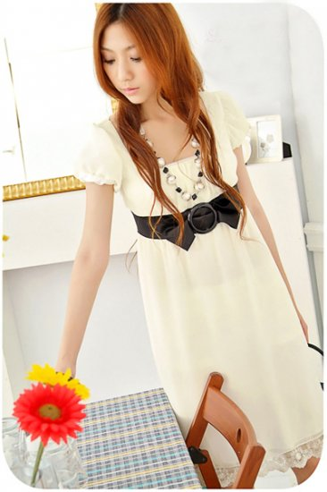 Empire ribbon belted Dress (D8852)