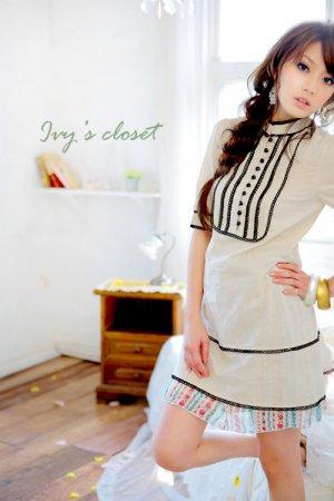 Gothic trim long blouse (T8842)