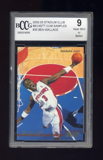 2002-03 Stadium Club Basketball #35 Ben Wallace - Detroit Pistons Graded BCCG 9