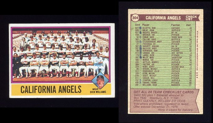 1976 Topps Baseball #304 California Angels CL / Dick Williams VgEx