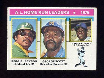 1976 Topps Baseball #194 Reggie Jackson / George Scott / John Mayberry