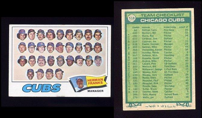1977 Topps Baseball #518 Chicago Cubs CL / Herman Franks ExMt