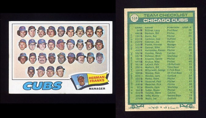 1977 Topps Baseball #518 Chicago Cubs CL / Herman Franks VgEx
