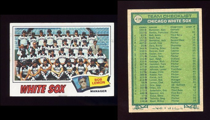 1977 Topps Baseball #418 Chicago White Sox CL / Bob Lemon