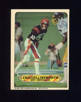 1983 Topps Sticker Inserts Football #08 Cris Collinsworth - Cincinnati Bengals
