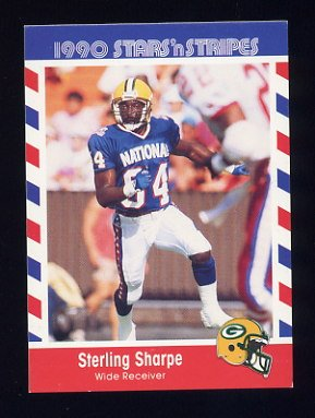 1990 Fleer Stars and Stripes Football #74 Sterling Sharpe - Green Bay Packers