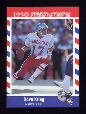 1990 Fleer Stars and Stripes Football #04 Dave Krieg - Seattle Seahawks