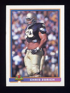 1991 Bowman Football #071 Chris Zorich RC - Chicago Bears