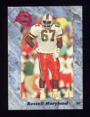 1991 Classic Four Sport Football #103 Russell Maryland - Dallas Cowboys