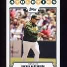 2008 Topps Baseball #124 Bob Geren MG - Oakland Athletics