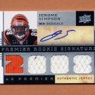 2008 Upper Deck Premier #122 Jerome Simpson RC - Bengals Quad Game-Used Jerseys AUTO 108/275