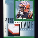 2001 Leaf Certified Materials Fabric Of The Game #077CE Corey Dillon - Bengals Game-Used Jersey /21