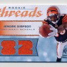 2008 SP Rookie Threads Rookie Numbers Gold #RTSI Jerome Simpson Bengals Dual Game-Used Jersey 73/82